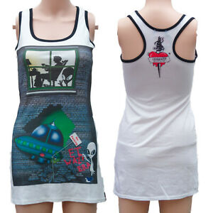 COTTON-WHITE-LONG-VEST-DRESS-TOP-ALIENS-Size-6-to-8-ALTERNATIVE-GOTHIC-EMO-SPACE