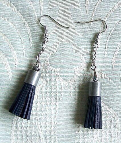 Black Leather Tassel Earrings on Fine Dangly Chain