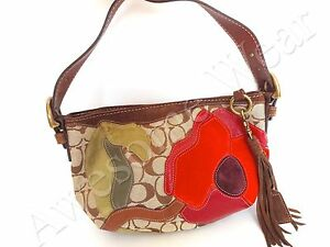 New authentic coach soho floral suede applique signature small