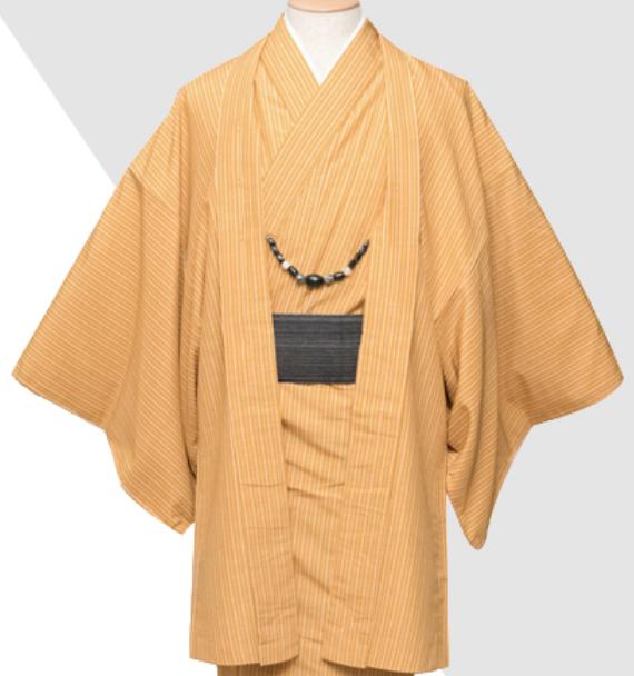 Japanese Men's Traditional Kimono Awase HAORI Jacket Coat Orange from JAPAN