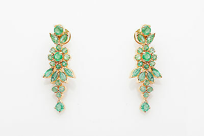 Estate $6000 10ct Colombian Emerald 22k Gold Dangle Earrings