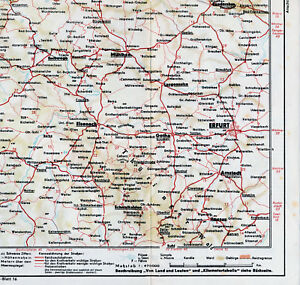 Erfurt-Eisenach-Eschwege-1934-orig-Teil-Autokarte-Schmalkalden-Gotha-Arnstadt-IL