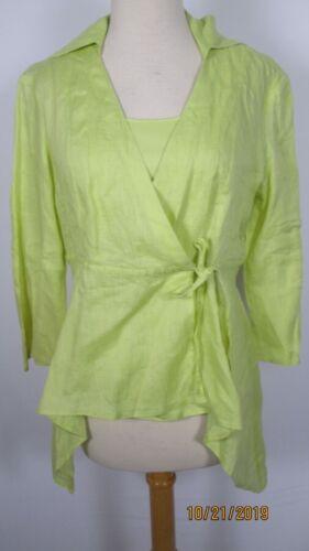 Samuel Dong Chartreuse Sheer Linen Wrap Blouse Top