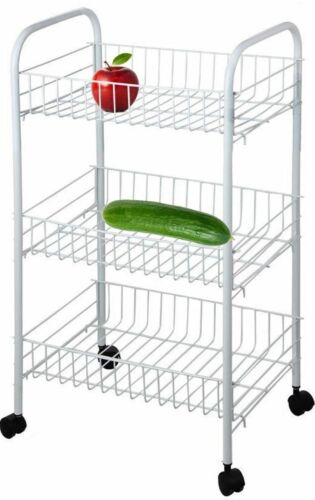 3// 4 Tier Kitchen Trolley on Wheel Cart Vegetable Rack Fruit Basket Corner Shelf