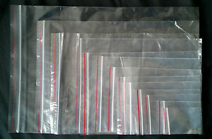 GRIP-SEAL-BAGS-QTY-100-13-SIZES-RESEALABLE-PLASTIC-CLEAR-BAGS