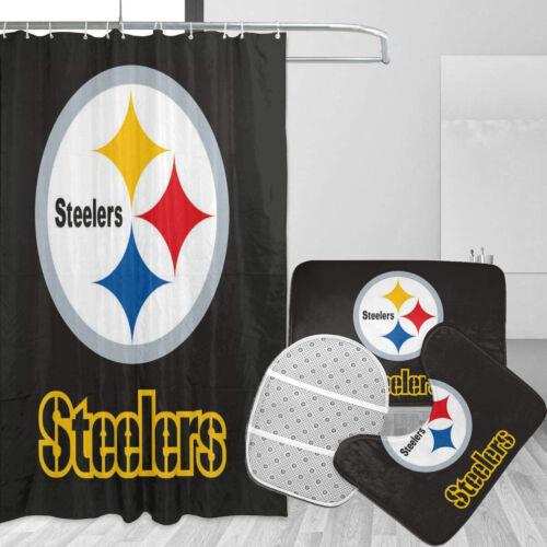 Pittsburgh Steelers 4Pcs//Set Bathroom Shower Curtain Bath Mat Toilet Lid Cover