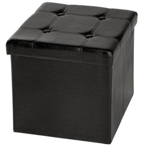 Tabouret pliant cube pouf dé pliable coffre siège de rangement 38x38x38cm