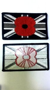 Union Jack Poppy Flag Black Iron on Sew on Embroidered Patch