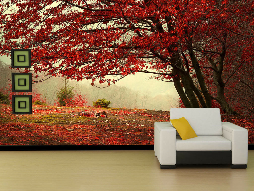 3D rot Maple Tree 45 Wall Paper Wall Print Decal Wall Deco Indoor Mural Lemon