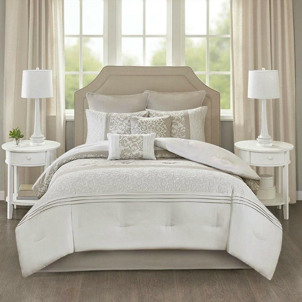 Elegant Embroiderot Pieced Neutral Comforter 8 pcs Cal King Queen Set New