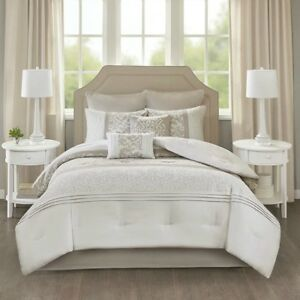 Neutral Bedding Sets King.Details About Elegant Embroidered Pieced Neutral Comforter 8 Pcs Cal King Queen Set New