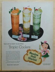 1953 magazine ad for Meadow Gold Sherbert - Tropic Coolers, Mary Blair hula girl