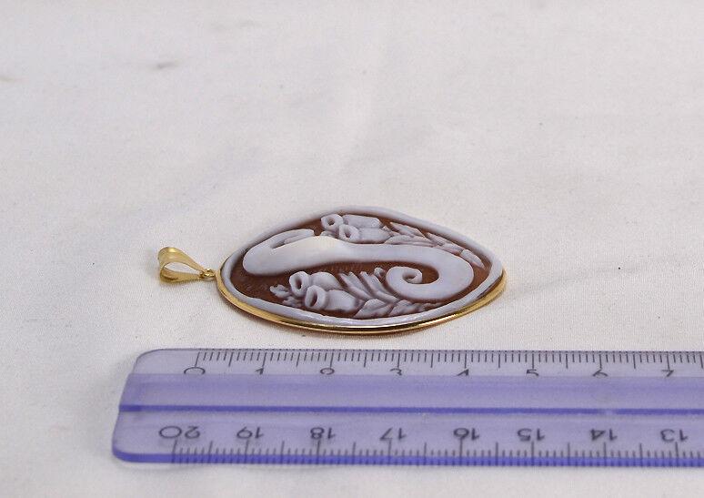 CIONDOLO  oro oro oro 18 KT  CON CAMMEO SARDONICO LETTERA - S -           - OGDV 0208 - eb5652