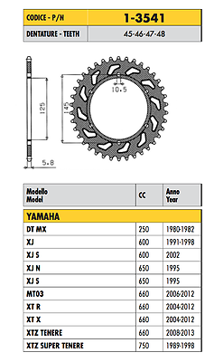 1-3541 - Corona Passo 520 Yamaha Xt R 660 2004 - 2016 Rafforzare La Vita E I Sinews