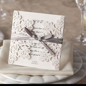 ribbons and lace laser cut embossed wedding invitations inc envelope