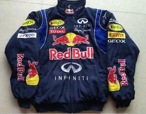 Car Enthusiasts Redbull Black Embroidery Cotton Padded Jacket F1