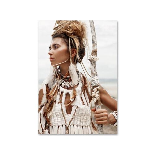 Boho Woman Reeds Desert Nature Canvas Poster Nordic Wall Art Print Modern Decor