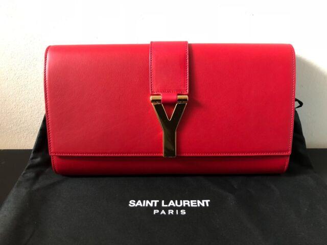 85375ab0ee NEW YSL SAINT LAURENT Ligne Y Macho Large RED Leather Clutch Purse Bag  311213