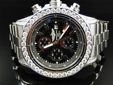 Mens 1 Row Breitling Super Avenger Aeromarine 53 MM Genuine Diamond Watch 10 Ct