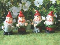Set Of Four Gnomes Miniature Dolls House Garden Accessories 1:12th Scale