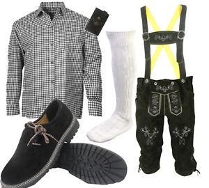 Herren-Trachten-Lederhose-Trachtenset-Bayerische-Trachtenhose-Hemd-Schuhe-S3