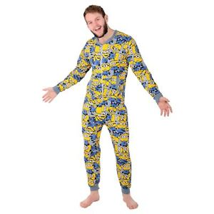 Mens-Despicable-Me-Minion-Sleepsuit-Cotton-Pyjamas-All-In-One-Nightwear