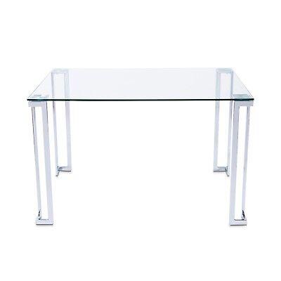 Mesa de comedor rectangular, mesa moderna para salon de cristal y acero, Dalí