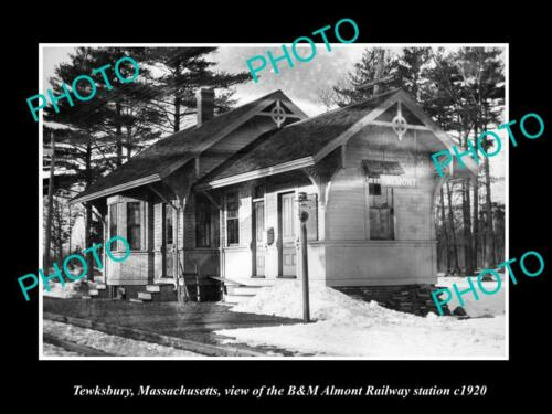 OLD 6 X 4 HISTORIC PHOTO OF TEWKEBURY MASSACHUSETTS, ALMONT RAILROAD DEPOT c1920