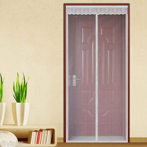 White Hands Free Auto Mesh Screen Net Door With Magnets