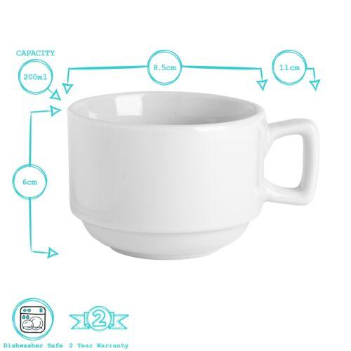 Weiß jeweils 24 200ml Set mit stapelbaren Tassen /& Untertassen