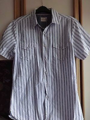 Industrious #b31 Bnwt Reputation First White & Blue Striped Short Sleeve Shirt From Onfire Size Large