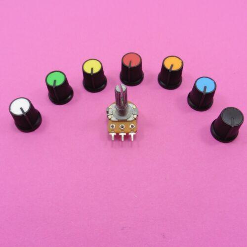 1K-1M Mezclador de eje B potenciómetros Lineales Mono volumen de sonido 15 mm Perilla de plástico