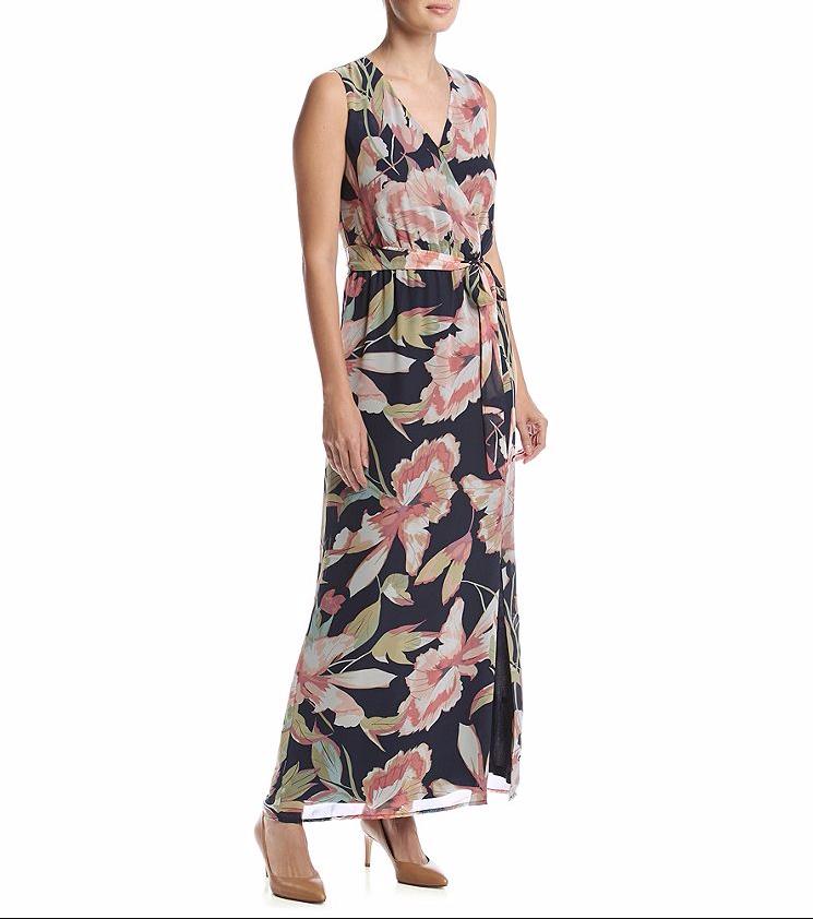 Nine West  Negro-Multi Floral Imitación Envoltura Abertura Lateral Vestido de gasa Maxi -  119  ventas de salida