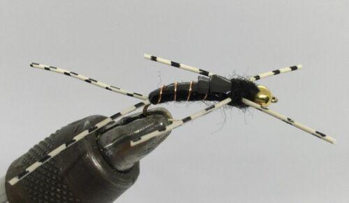 One Dozen - Tungsten Beadhead Stonefly 12 Nymph Black