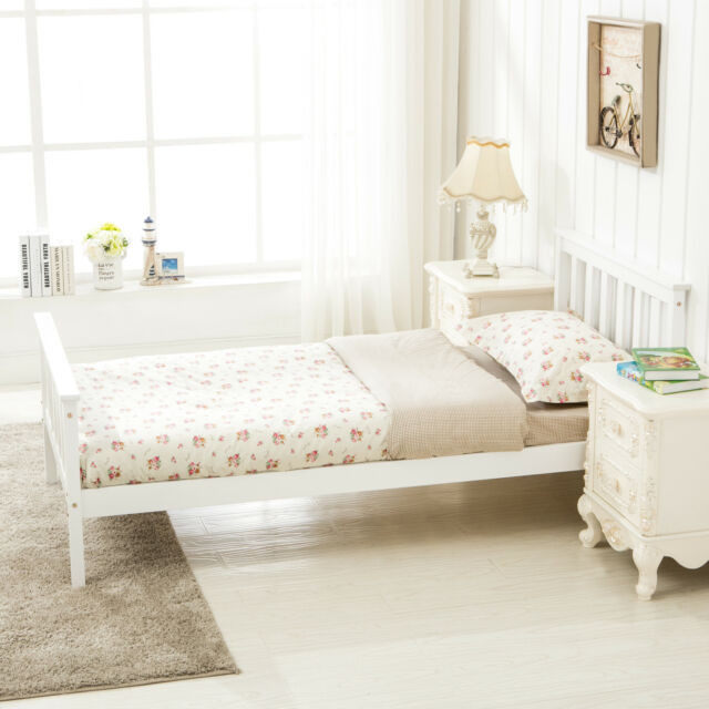 Solid 3ft Single Wood Bed Frame Slated Base Support Bedroom