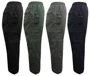Pantalones térmico de carga hombre trabajo forro polar invierno Cintura elástica