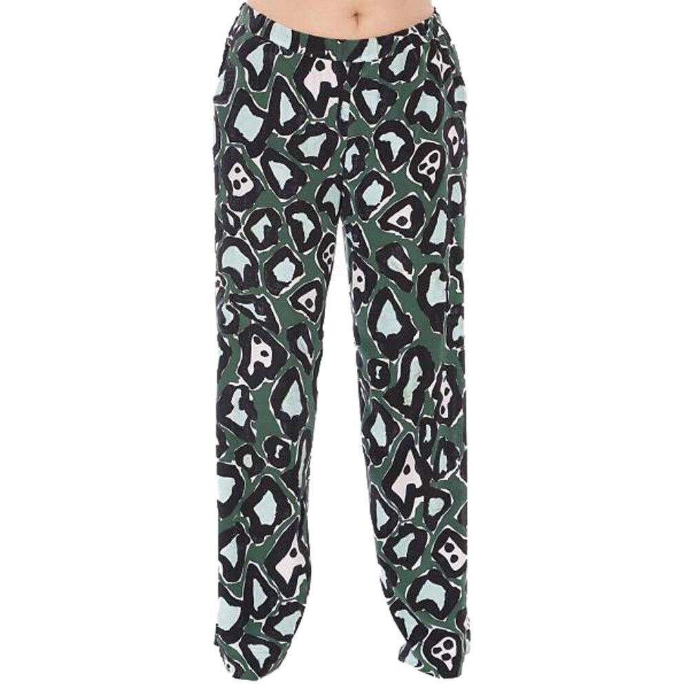 MARINA RINALDI Women's Green Regia Printed Pure Silk Pants NWT
