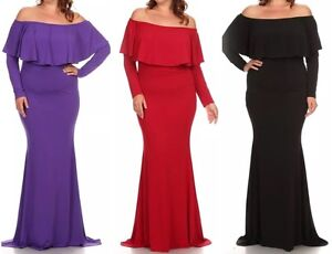d236a23ffcdc Dress Plus Maxi Cocktail Off Shoulder Ruffle Gown Mermaid Long ...
