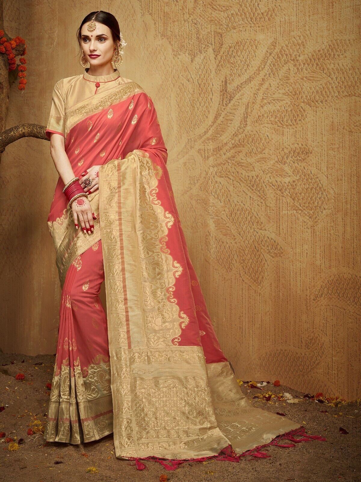 Indian Saree & Blouse Bollywood Sari Fancy Peach Woven Banarasi Art Silk -1253