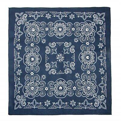 100/% Cotton Black Bandana Scarf Extra Large White Paisley Headscarf 27 inch squa
