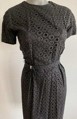 Vintage 1950s Black Eyelet Dress By Jeanie Petite