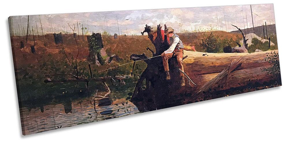 Winslow Homer Waiting For A Bite Bild PANORAMA CANVAS Wand Kunst Drucken