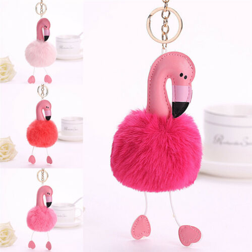 Flamingo Schlüsselanhänger FluffyFaux KaninchenfellBall Schlüsselanhänger-TasFT