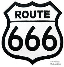 ROUTE 666 iron-on PATCH SATAN BIKER MOTORCYCLE SIGN 66 embroidered DEVIL HELL