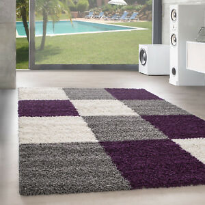 Design Tapis à Poils Longs Salon Shaggy Motif des Carreaux Violet ...