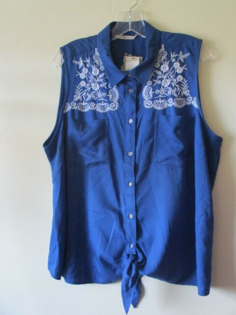 TIE FRONT TOP Blouse Shirt BLUE White EMBROIDERY Western 1950s Style  Sz 18 NEW