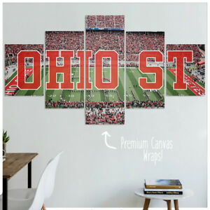 Captivating Image Is Loading Ohio State Buckeyes Football Canvas Wall Art