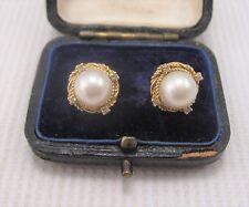 Pearl & Diamond Earrings in 18ct Yellow Gold