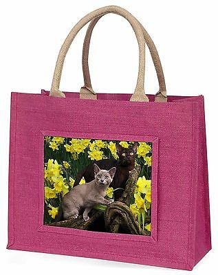Burmesische Katzen Amoungst Narzissen Große Rosa Einkaufstasche Weihnachten Pr,