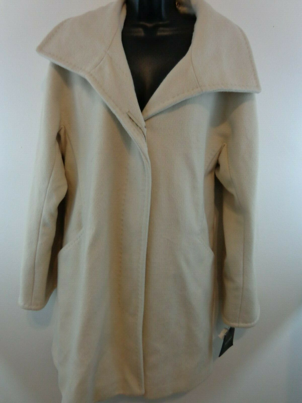 ELLEN TRACY Women Wool Angora Wide Collar Coat Sz 14 Off White New With Tags